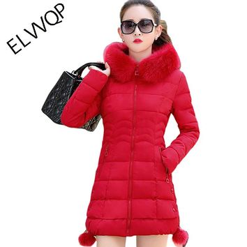 womens winter jackets and coats Parkas for women 5 Colors Wadded Jackets warm Outwear Hooded Large Faux Fur Collar LU023