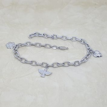 4-3301-h2 Stainless Steel Charms Anklet. 9-3/4""