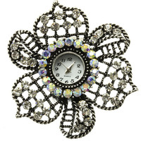 Crystal Stone Paved Flower Stretch Ring Watch