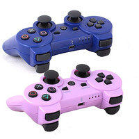 Bowink 2 Packs Wireless Bluetooth Controllers For PS3 Double Shock (1 Purple And 1 Blue)