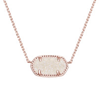 ELISA ROSE GOLD PENDANT NECKLACE IN IRIDESCENT DRUSY by Kendra Scott
