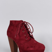 Refined Lace Up Stacked Bootie