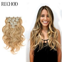 Wavy Remy European Clip In Hair Extensions-7Pc