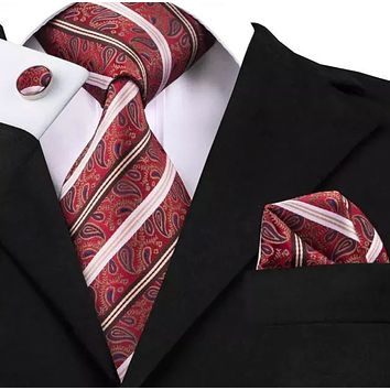Men's Silk Coordinated Tie Set - Paisley Stripe Red Pink