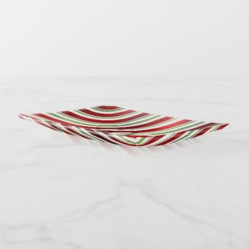 Red & Green Candy Cane Stripes Trinket Trays