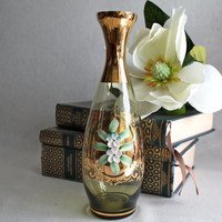 Bohemian Glass Decanter with Enamel Floral Design