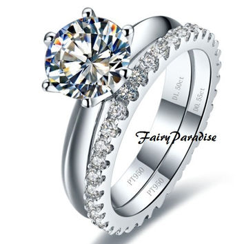 2 pcs Bridal Wedding Ring Set: 2 Ct (8 mm) Round Lab Made Diamond Tiffany Inspired Solitaire Engagement ring + Full Eternity Wedding Band