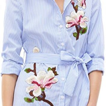 Women's Vertical Striped Embroidered Floral Shirt Dress