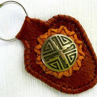 Leather Key Ring - Deerskin Leather, Leather Key Chain, Tribal Etched Metal, Leather Lacing - Unisex, Key Chain, Fathers Day, Graduation