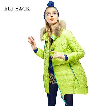 Elf SACK is strawberry flavor of the winter female fashion fur collar thickening coat medium-long down female