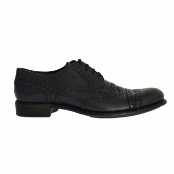 Dolce & Gabbana Gray Leather Wingtip Oxford Shoes