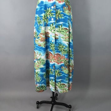 Vintage Hawaiian Print Maxi Skirt / Bias Cut Skirt / Bright Blue Tropical Print / Long Skirt / 1980s 80s