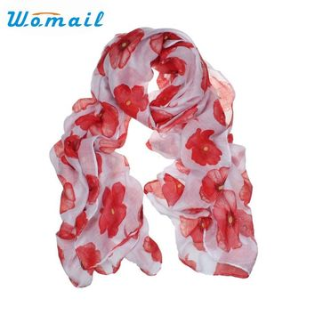 Womail Newly Design Fashion Red Poppy Scarf Print Long Scarves Flower Beach Wrap Ladies Stole Shawl July31 Drop Shipping