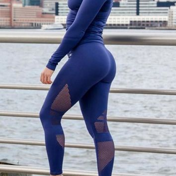 Blue Patchwork Fishnet High Waisted Yoga Stretch Sock Sports Legging