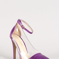 Liliana Olga 1 C Clear Lucite Pointy Toe Pumps in Metallic Purple | shoes heels high heel shoes trendy shoes stilettos