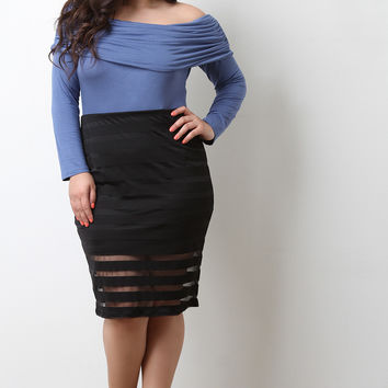 Stripe Mesh High Waisted Pencil Skirt
