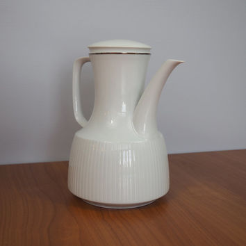Vintage Rosenthal Modulation Studio Line Coffee Pot Serenade Pattern #2019 // White Coffee Pot // Fine China // Germany