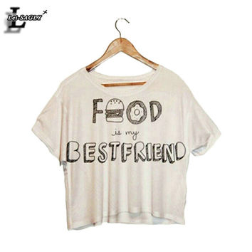 "Lei-SAGLY ""Food Is My Best Friend"" Partten Fashion Short Sleeve T shirts Dew Navel Punk Crop Tops Harajuku Fitness T-shirt F993"