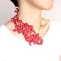 statement necklace // red lace bib // large crystal beaded / gold // vintage chic modern // women accessory jewelry gift