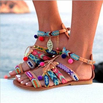Buckle Multicolor Fashion Women Beach Sandals Flats Shoes