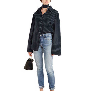 Flare Sleeve Buttoned Down Striped Blouse