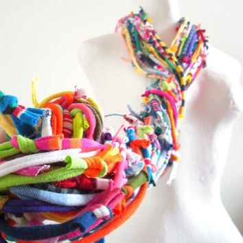 Technicolor Gypsy Infinity Scarf Bright Colors Chunky Tribal Cowl Scarf Upcycled Urban Nomad Circle Scarf Winter Accessories