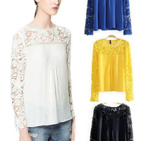 Cutout Lace Long-Sleeve Pleated Chiffon Blouse