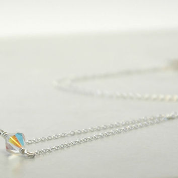 Fine silver chain necklace with single swarovski crystal, clear faceted crystal, Swarovski crystal, 925 Sterling Silver