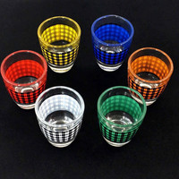 Mid Century Retro Houndstooth Barware Shot Glass Set - Gift For Him Christmas Present Holiday Gift Under 25