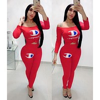 Champion Fashion Women Sexy Print Long Sleeve Top Pants Trousers Set Two-Piece Sportswear Red