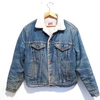 FREE SHIPPING - vintage levis shearling denim jacket - 80s levis denim jacket - vintage denim jacket - size medium