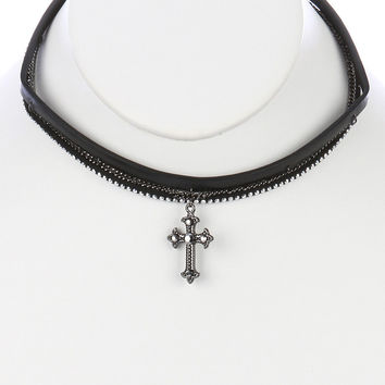 2 PC FAUX LEATHER CHOKER METAL CROSS