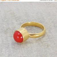 25% SALE Handmade Ring - Red Coral Ring - Gemstone Ring - Gold Plated Ring - Bezel Set Ring - Solid Brass Ring - Round Stone Ring - Birthsto