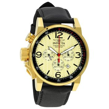Invicta I-Force Chronograph Gold Dial Black Leather Mens Watch 20137