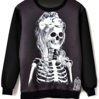 Skeleton Girl Pattern Sweatshirt - OASAP.com