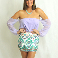 Kiss My Chic Aztec Sequin Skirt - Ivory + Mint -  $40.00 | Daily Chic Bottoms | International Shipping