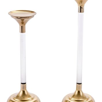 Set of 2 Lucite Candle Holders