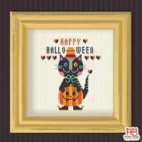 Halloween cross stitch pattern - HAPPY Halloween CAT - Xstitch Instant download - Crazy Modern Trick or Treat Cute ghost Funny pumpkin cat