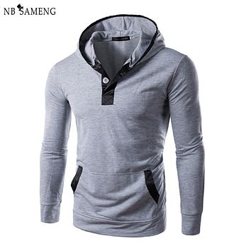 2016 New Arrival Winter Brand Turtleneck Sweater Fashion Men Casual Soild Slim Hooded Pullover Mens Patchwork Sweaters 13M0414