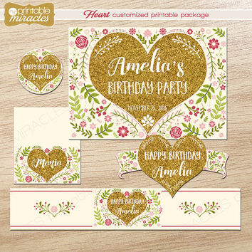 Adult birthday decorations printable package, Customized gold pink heart party decor kit