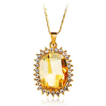 Yunxiu Oval Cut Yellow Crystal Pendant Necklace (Yellow)