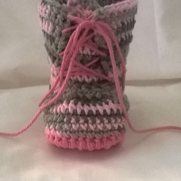 Pink Cotton Camo Booties for Baby Girl