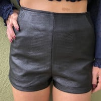 Lucky in Leather Shorts- Black