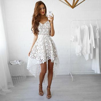 TIGENA 2018 Summer Short Front Long Back Lace Dress Women Spaghetti Strap Hollow Out Sexy Party Dress Midi Robe Femme White Pink