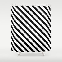 Shower Curtain - Black and White Ikat Stripes - Dorm Shower Curtain - Glamour Decor - Bathroom Shower Curtain - Teen Room Decor - Stripes