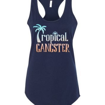 Tropical Gangster Beach Racerback TAnk - Navy Blue and Orange  - Palm Trees Sunrise Salty Air Beach Trip Girls Trip Spring Break