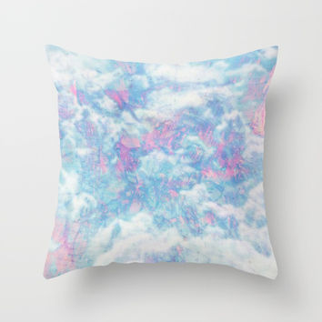 Blue Pink Attractions Throw Pillow by Marie-Pier Cadorette
