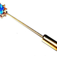 "Sapphire Blue Stick Pin 10 K Gold Metal Unisex 1.5"" September Birthstone Vintage"