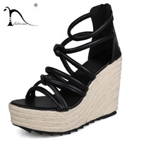 FEDIROMA Summer Wedges Sandals Peep-toe Gladiator Shoes Lace-up Hollow Beach Shoes 10CM High Heel Shoes Lady platform Pumps