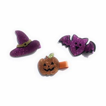 2 inch Girls Glitter Jack O' Lantern, Witches Hat and Bat Hair Clips